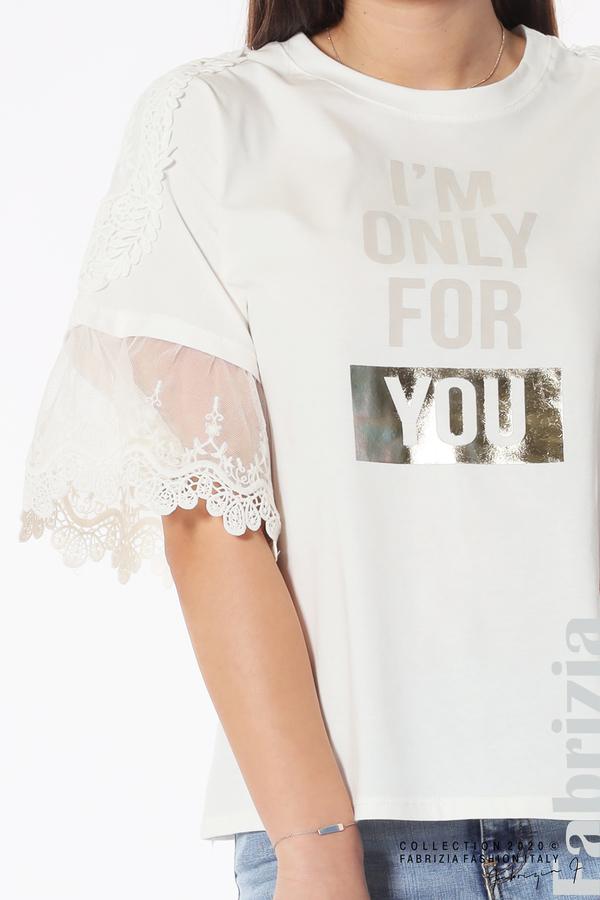 Блуза с надпис и дантела бял 3 fabrizia