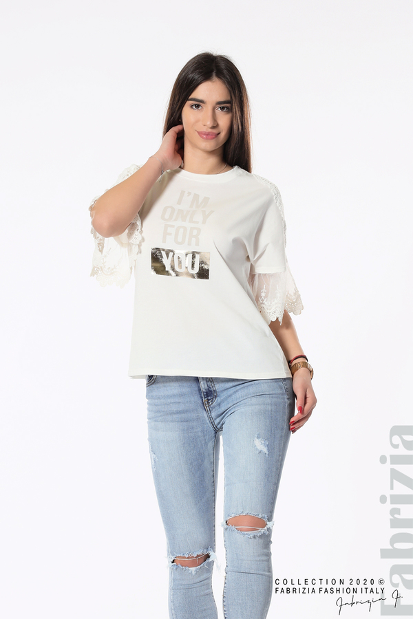 Блуза с надпис и дантела бял 4 fabrizia