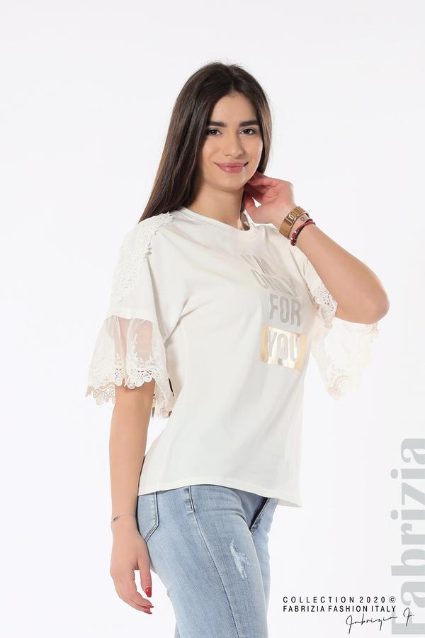 Блуза с надпис и дантела бял 2 fabrizia