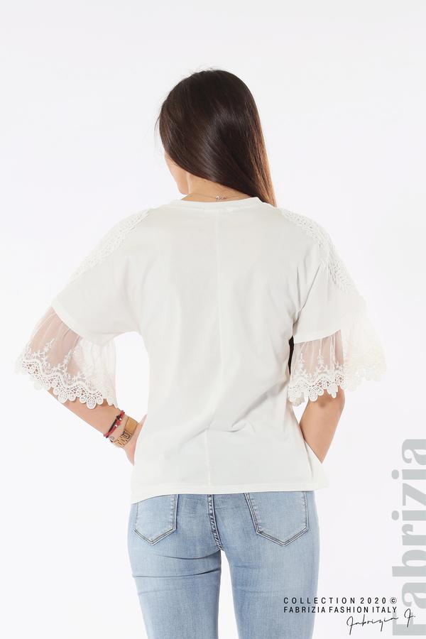 Блуза с надпис и дантела бял 6 fabrizia