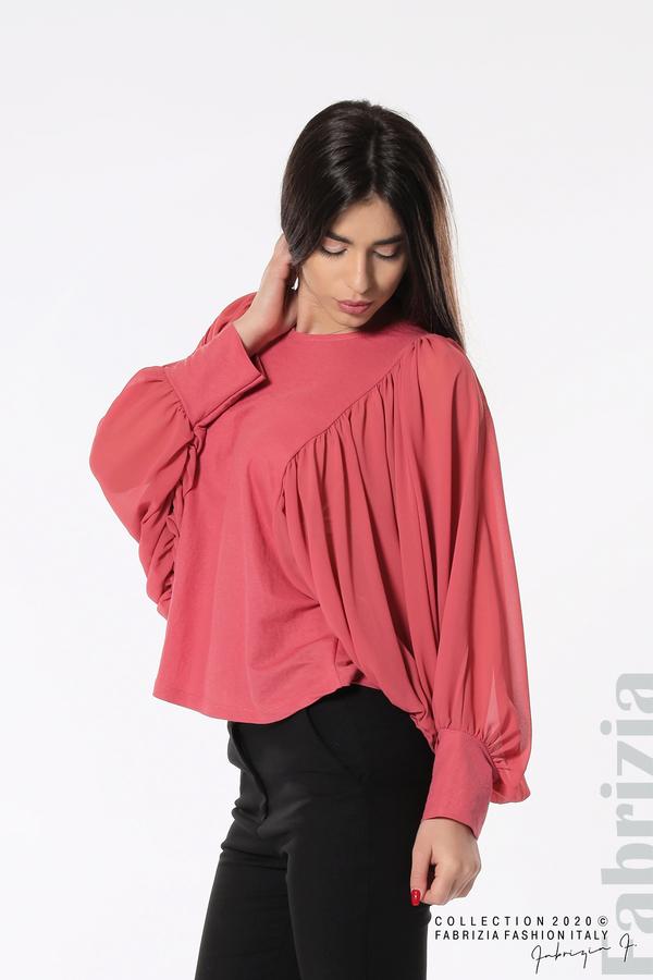 Блуза с набрани прилеп ръкави корал 1 fabrizia