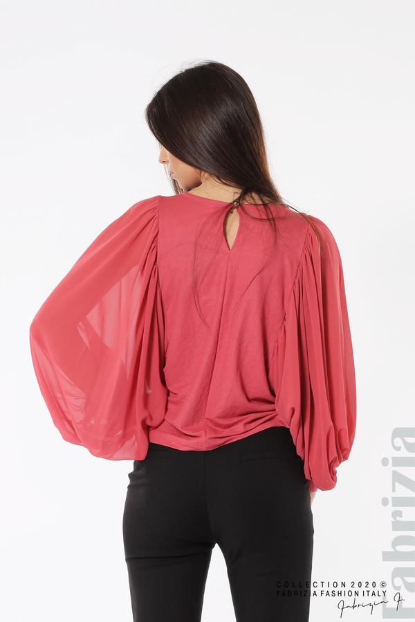 Блуза с набрани прилеп ръкави корал 5 fabrizia