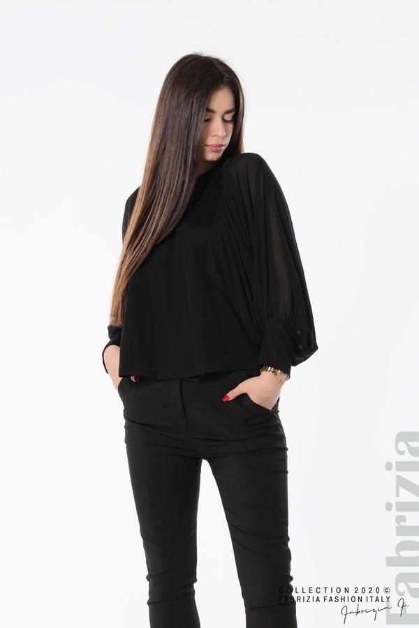 Блуза с набрани прилеп ръкави черен 4 fabrizia