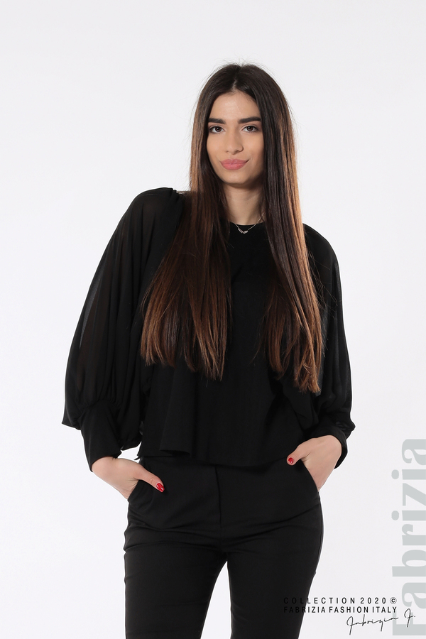 Блуза с набрани прилеп ръкави черен 1 fabrizia