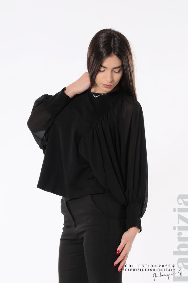 Блуза с набрани прилеп ръкави черен 2 fabrizia