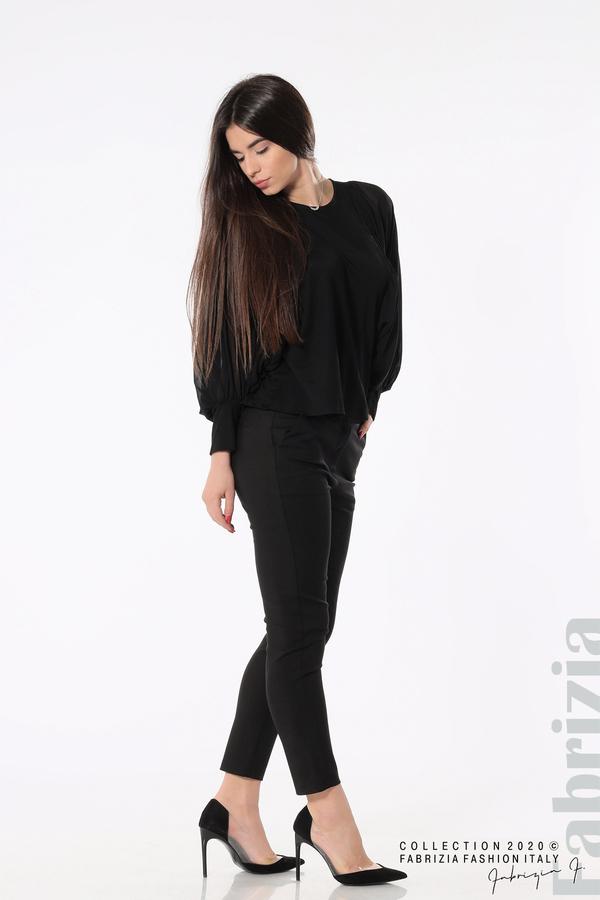 Блуза с набрани прилеп ръкави черен 3 fabrizia