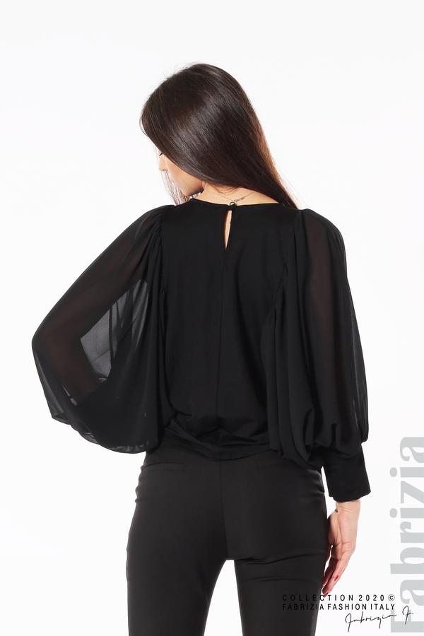 Блуза с набрани прилеп ръкави черен 5 fabrizia