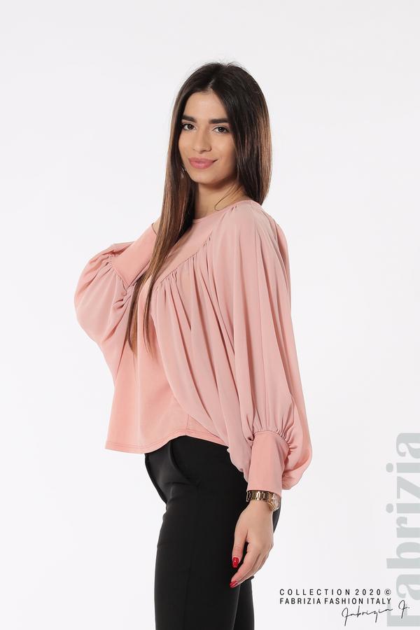 Блуза с набрани прилеп ръкави розов 1 fabrizia