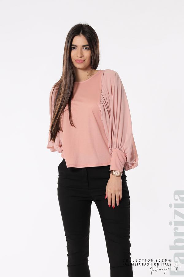 Блуза с набрани прилеп ръкави розов 2 fabrizia