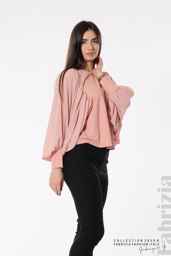 Блуза с набрани прилеп ръкави розов 3 fabrizia