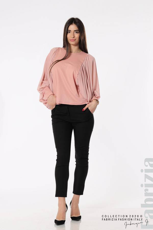 Блуза с набрани прилеп ръкави розов 4 fabrizia