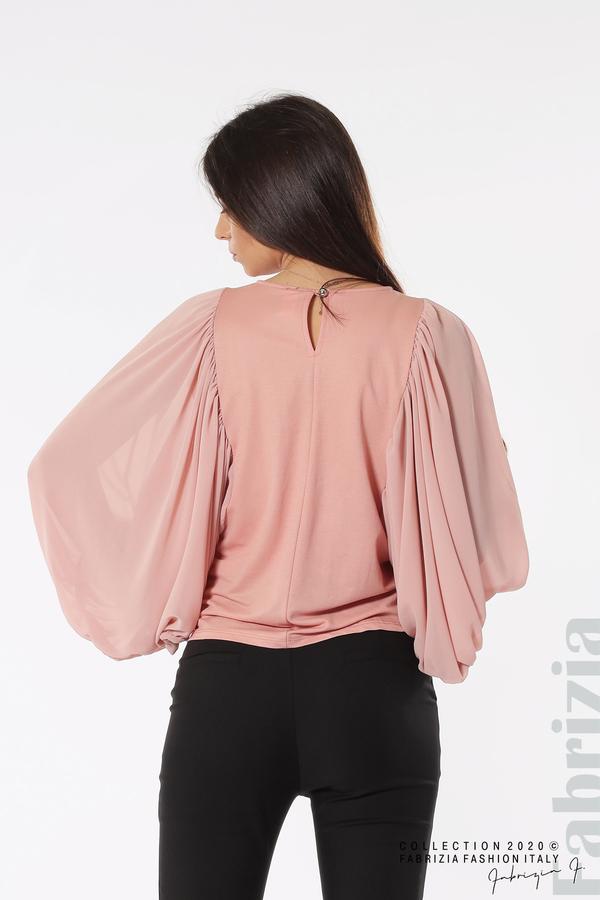 Блуза с набрани прилеп ръкави розов 5 fabrizia