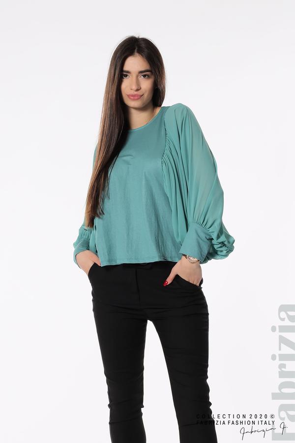 Блуза с набрани прилеп ръкави бл.зелен 3 fabrizia