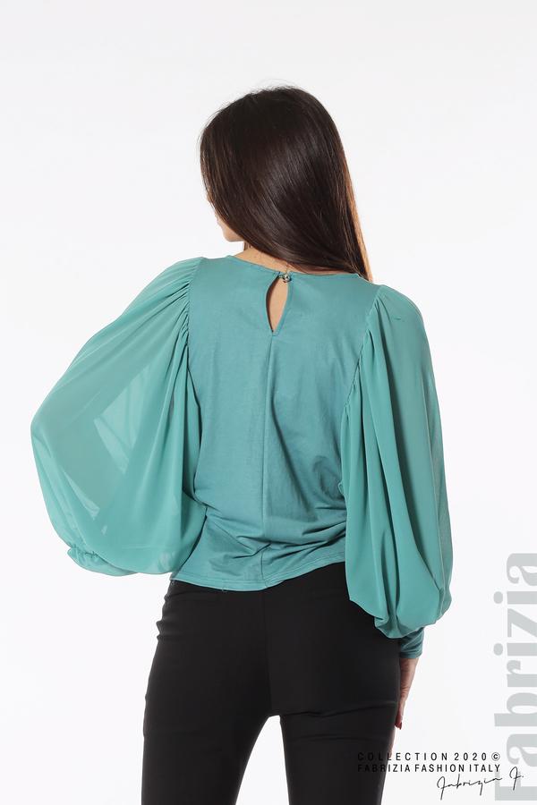 Блуза с набрани прилеп ръкави бл.зелен 4 fabrizia