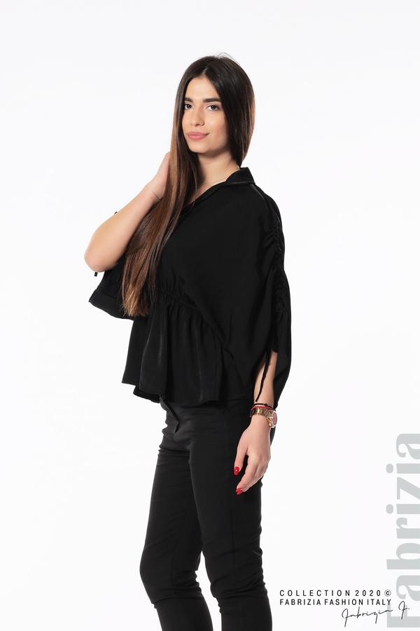 Блуза с ефектни ръкави черен 4 fabrizia