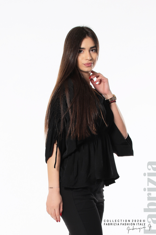 Блуза с ефектни ръкави черен 2 fabrizia
