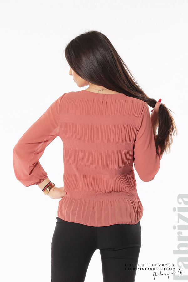 Блуза с ефирни ръкави корал 6 fabrizia