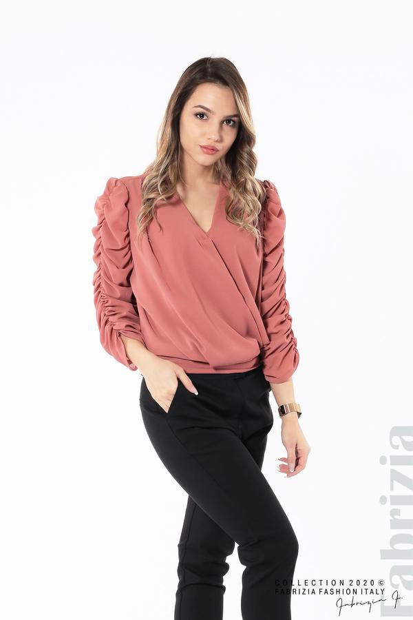 Дамска блуза с набрани ръкави корал 2 fabrizia
