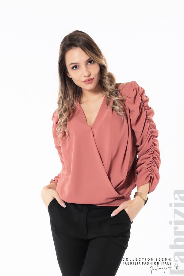 Дамска блуза с набрани ръкави корал 1 fabrizia