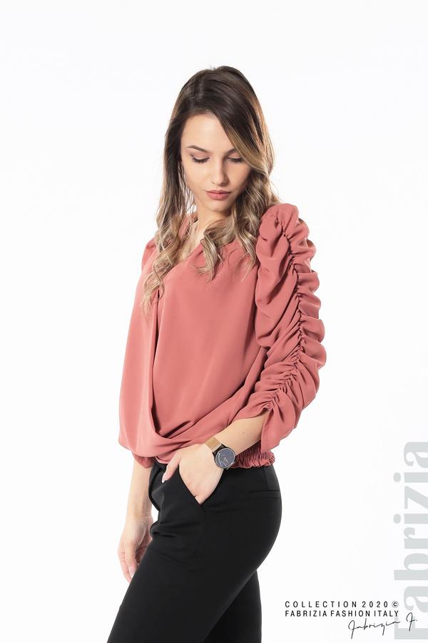 Дамска блуза с набрани ръкави корал 3 fabrizia