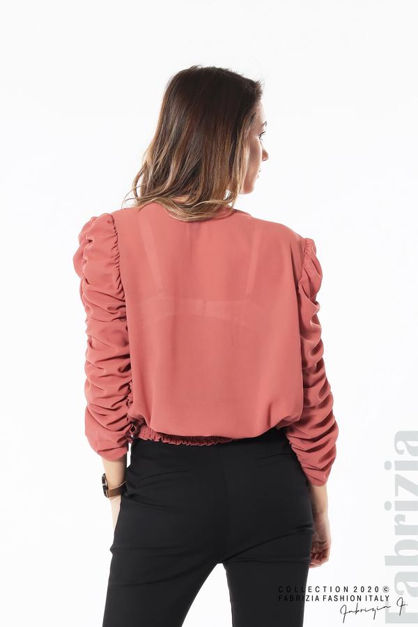 Дамска блуза с набрани ръкави корал 6 fabrizia