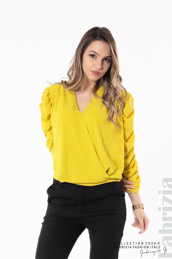 Дамска блуза с набрани ръкави жълт 1 fabrizia