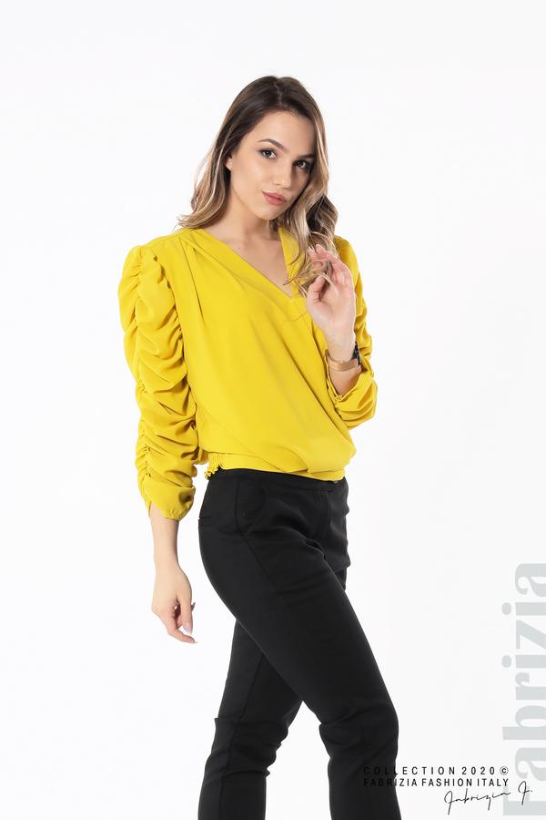 Дамска блуза с набрани ръкави жълт 2 fabrizia
