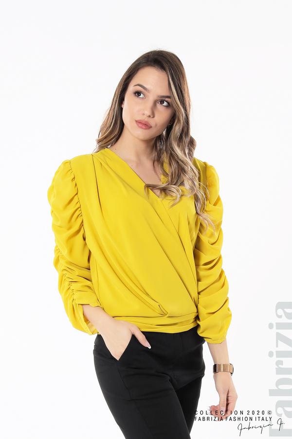 Дамска блуза с набрани ръкави жълт 4 fabrizia