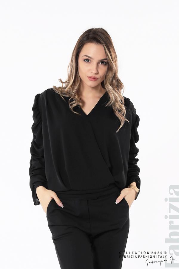 Дамска блуза с набрани ръкави черен 1 fabrizia