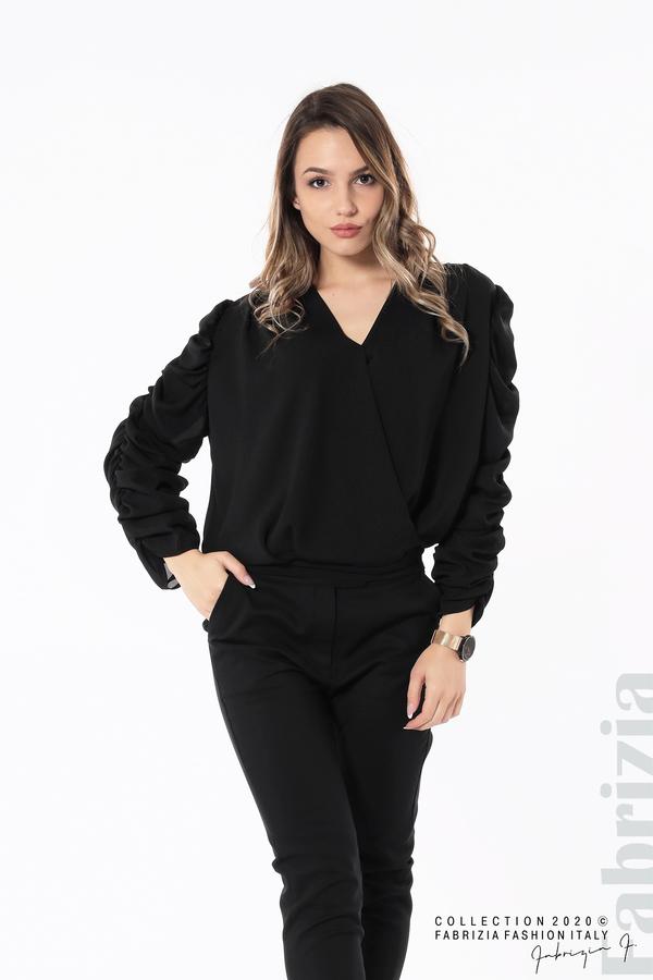 Дамска блуза с набрани ръкави черен 4 fabrizia