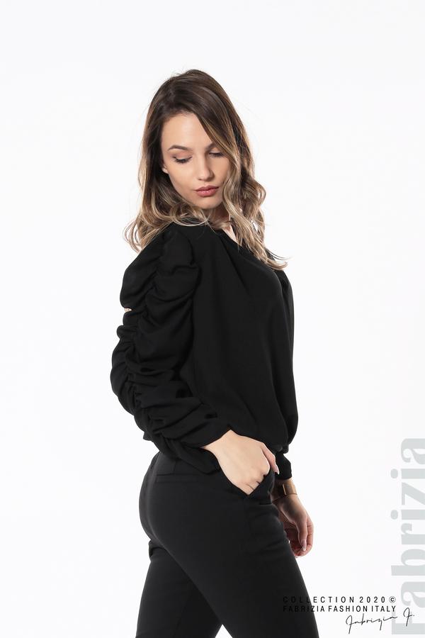 Дамска блуза с набрани ръкави черен 2 fabrizia