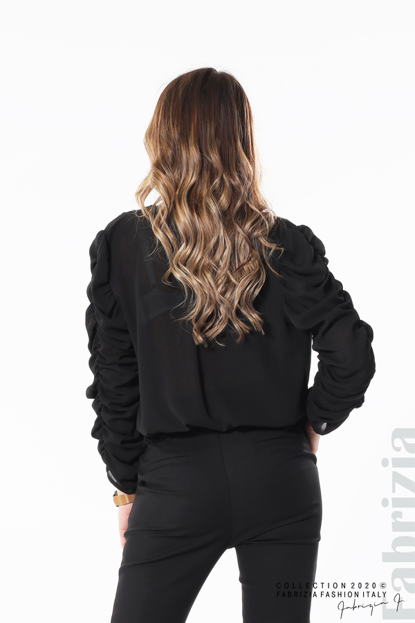 Дамска блуза с набрани ръкави черен 5 fabrizia