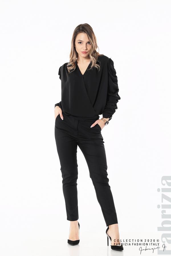 Дамска блуза с набрани ръкави черен 3 fabrizia