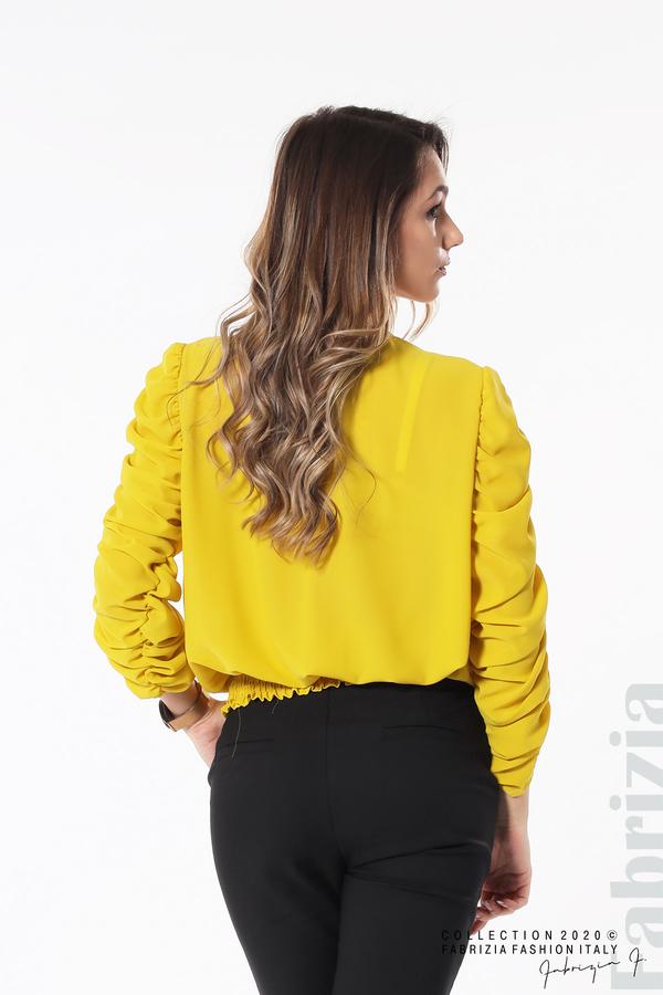 Дамска блуза с набрани ръкави жълт 6 fabrizia
