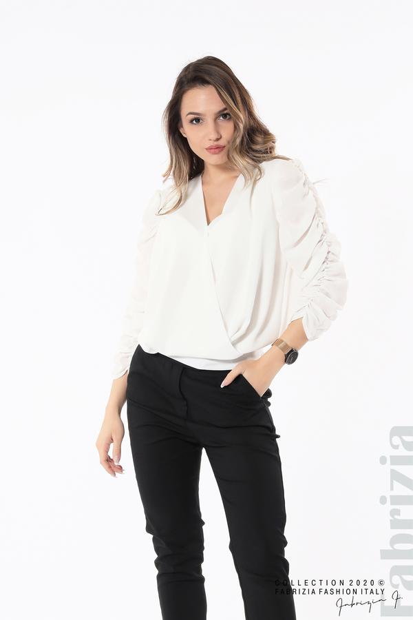 Дамска блуза с набрани ръкави бял 2 fabrizia