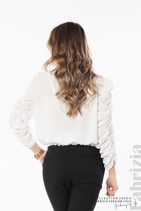 Дамска блуза с набрани ръкави бял 5 fabrizia