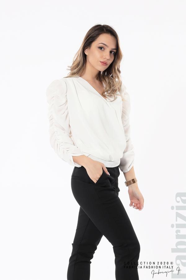 Дамска блуза с набрани ръкави бял 4 fabrizia
