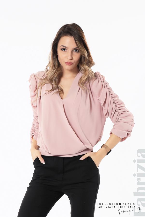 Дамска блуза с набрани ръкави розов 1 fabrizia