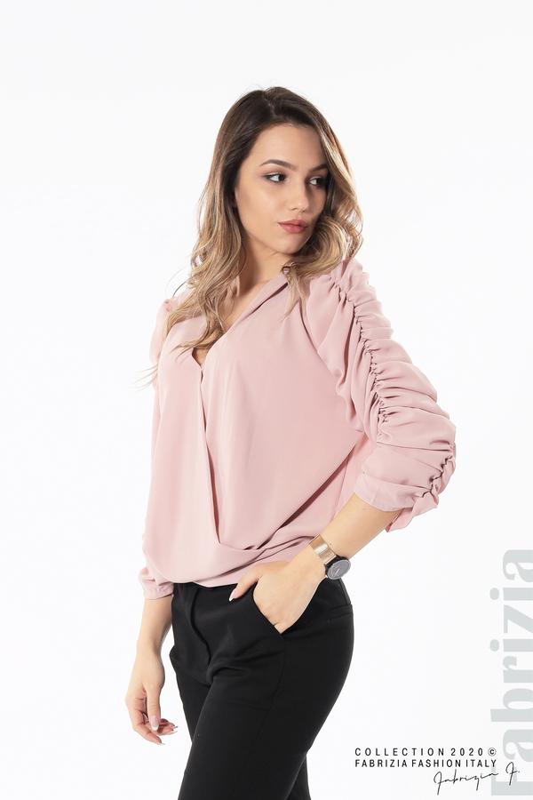 Дамска блуза с набрани ръкави розов 4 fabrizia