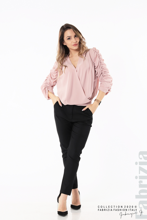 Дамска блуза с набрани ръкави розов 3 fabrizia