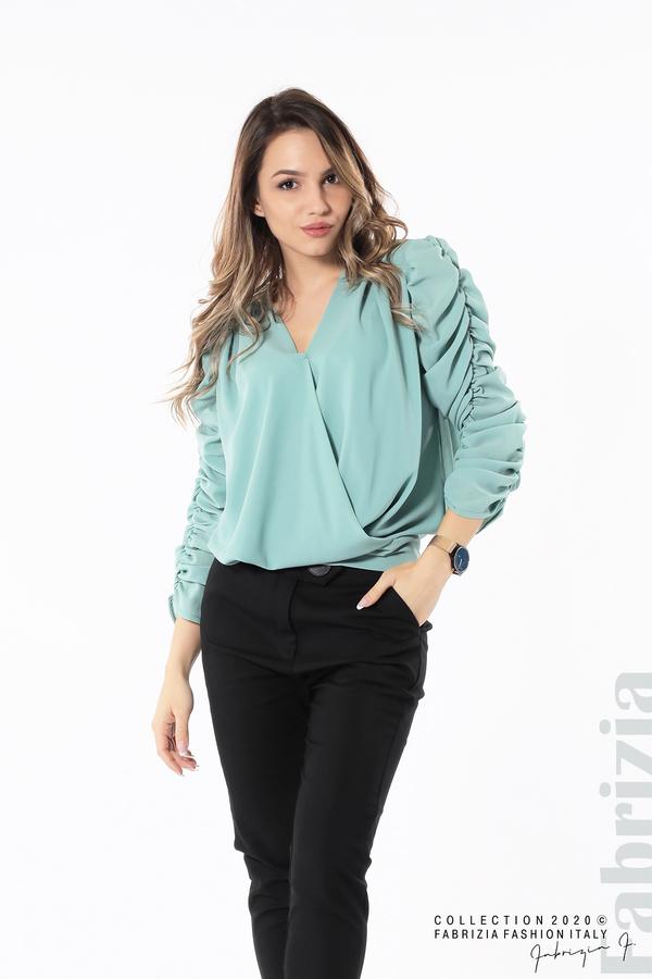 Дамска блуза с набрани ръкави бл.зелен 2 fabrizia