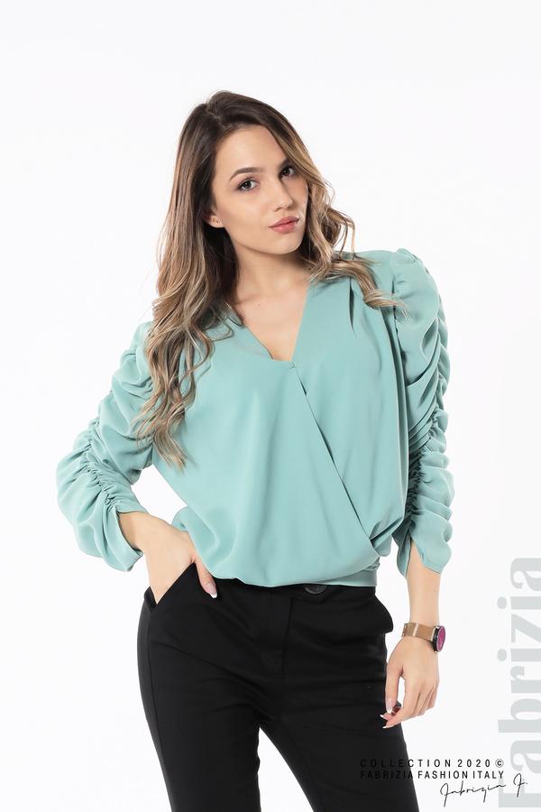 Дамска блуза с набрани ръкави бл.зелен 1 fabrizia