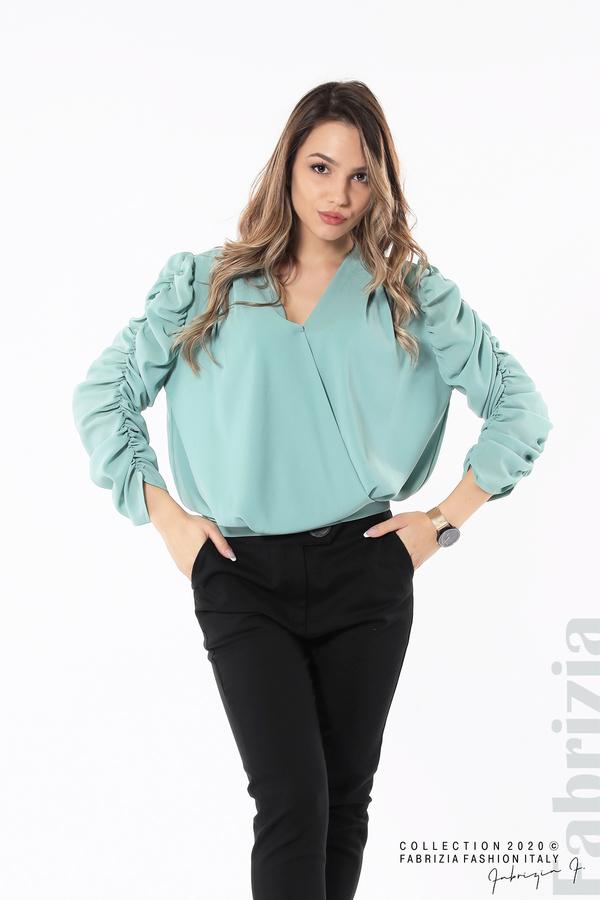 Дамска блуза с набрани ръкави бл.зелен 4 fabrizia