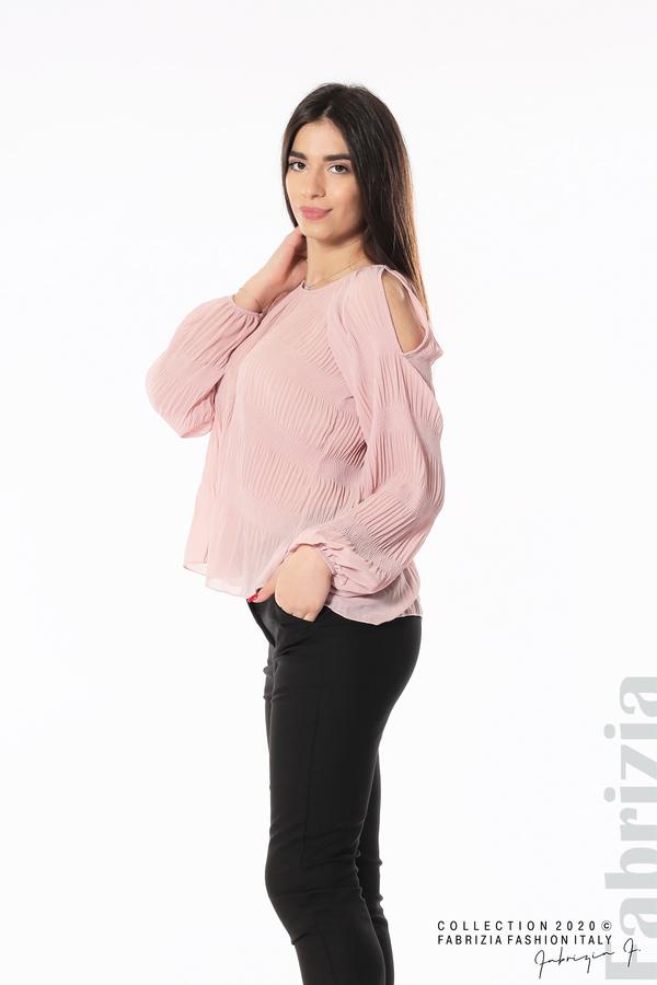 Блуза с прорези на раменете розов 2 fabrizia
