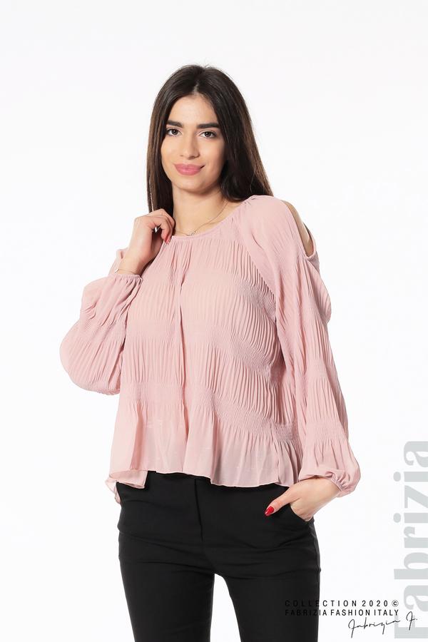 Блуза с прорези на раменете розов 1 fabrizia