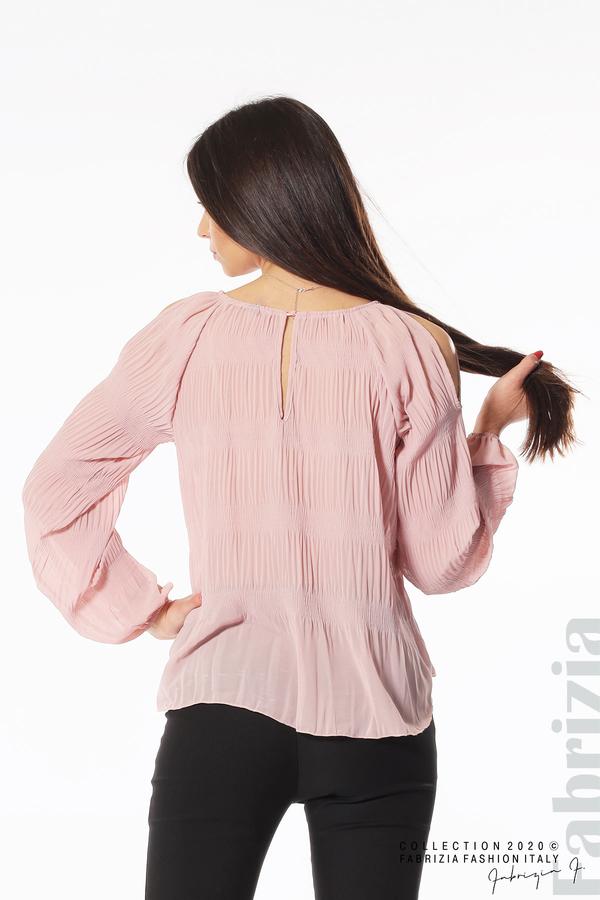 Блуза с прорези на раменете розов 4 fabrizia