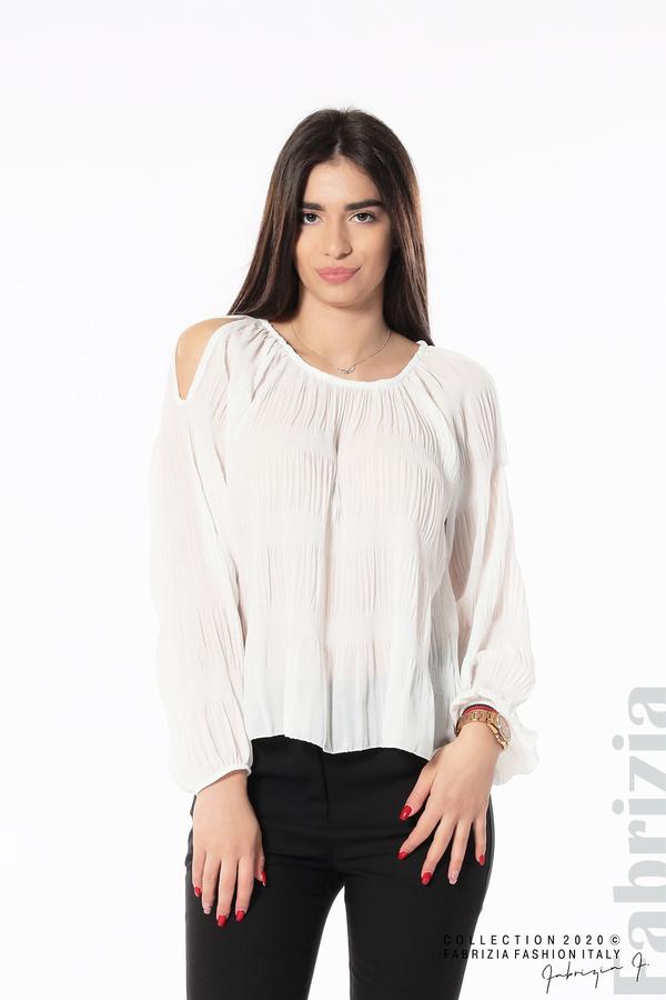Блуза с прорези на раменете бял 1 fabrizia