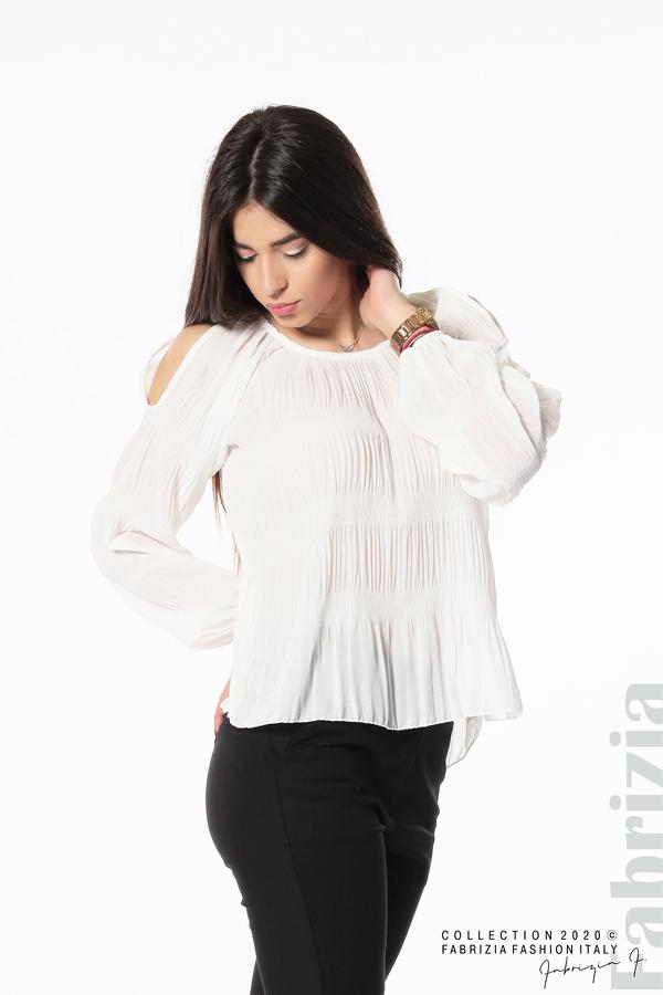 Блуза с прорези на раменете бял 2 fabrizia