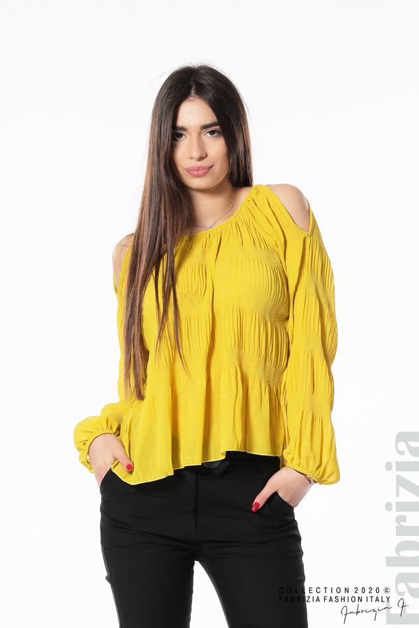Блуза с прорези на раменете жълт 1 fabrizia
