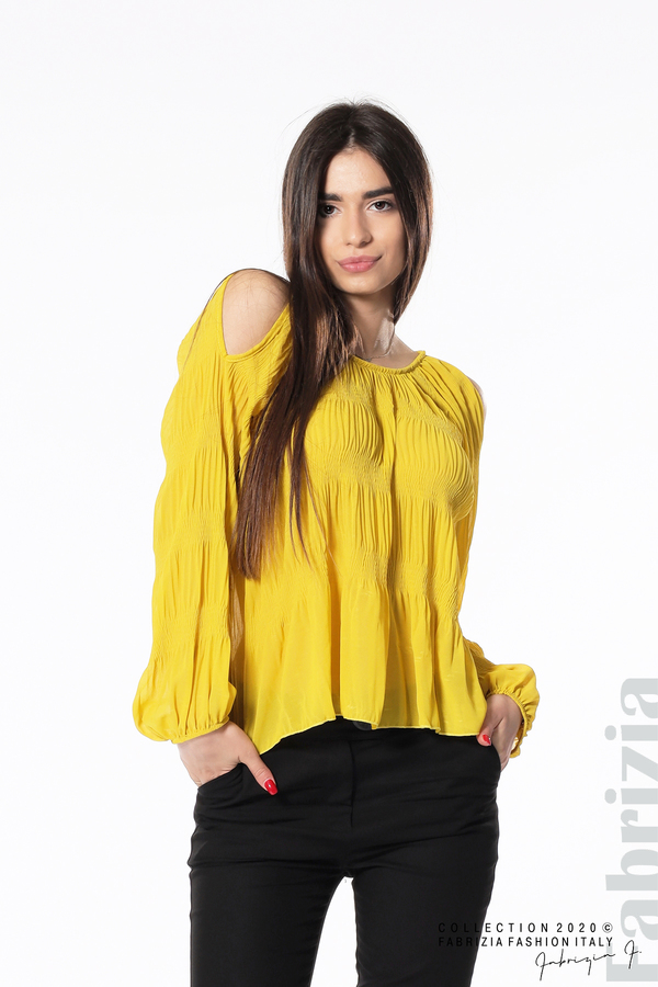 Блуза с прорези на раменете жълт 3 fabrizia